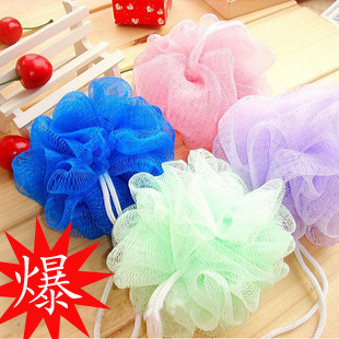 Multicolour bath ball ,wholesale free shipping Cool ball bath towel scrubber Body cleaning Mesh Shower wash Sponge product