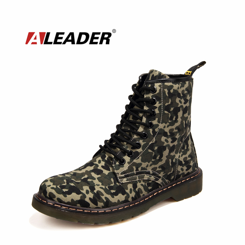 Camouflage Canvas Ankle Boots Autumn/Winter Women/Men Army Boots Outdoor Martin Botas Cowboy Boots Shoes