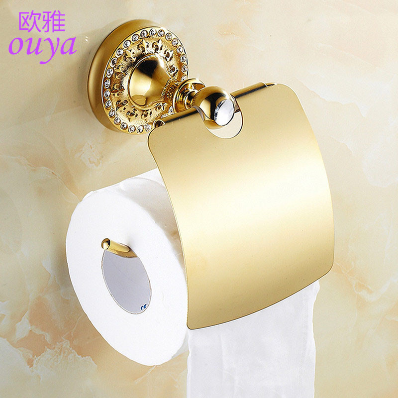 New luxury wall mounted crystal brass gold paper box roll holder toilet gold paper holder - Gold toilet paper holder stand ...