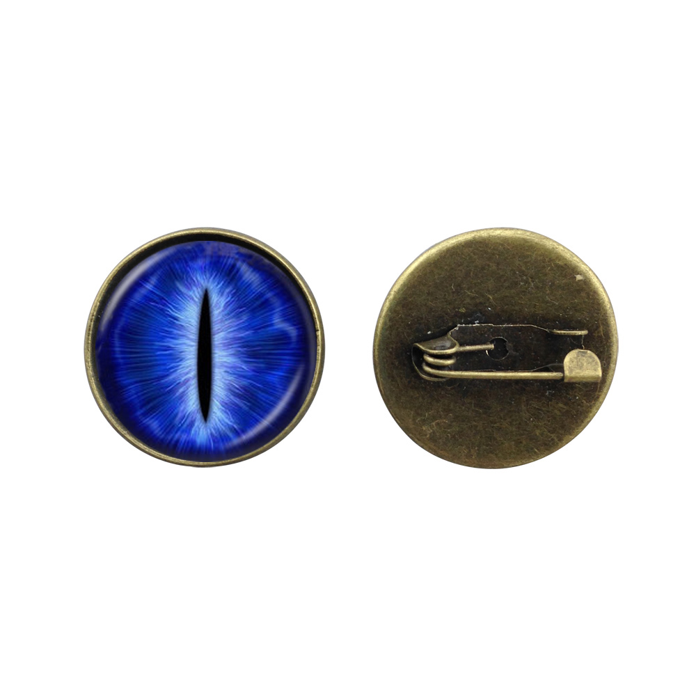 Dragons Eyes pins brooches blue cat eye broche glass cabochon cat eye jewelry art picture brooches friend gifts free shipping(China (Mainland))