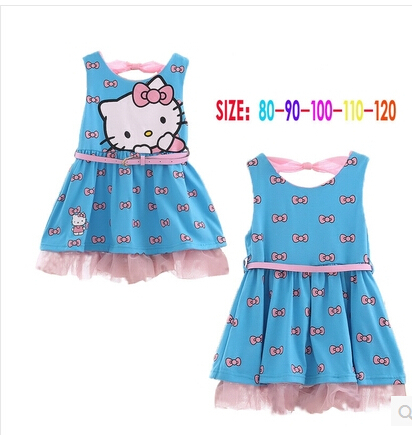 Baby girl dress hello kitty print sleeveless dress with belt kids summer clothes beach casual dress baby clothes new 2015(China (Mainland))