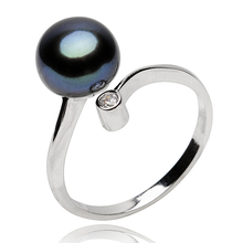 Women's 100% 925 Sterling Silver Ring with 8mm-9mm Black Freshwater Pearl Classic Style Pearl Jewelry(China (Mainland))