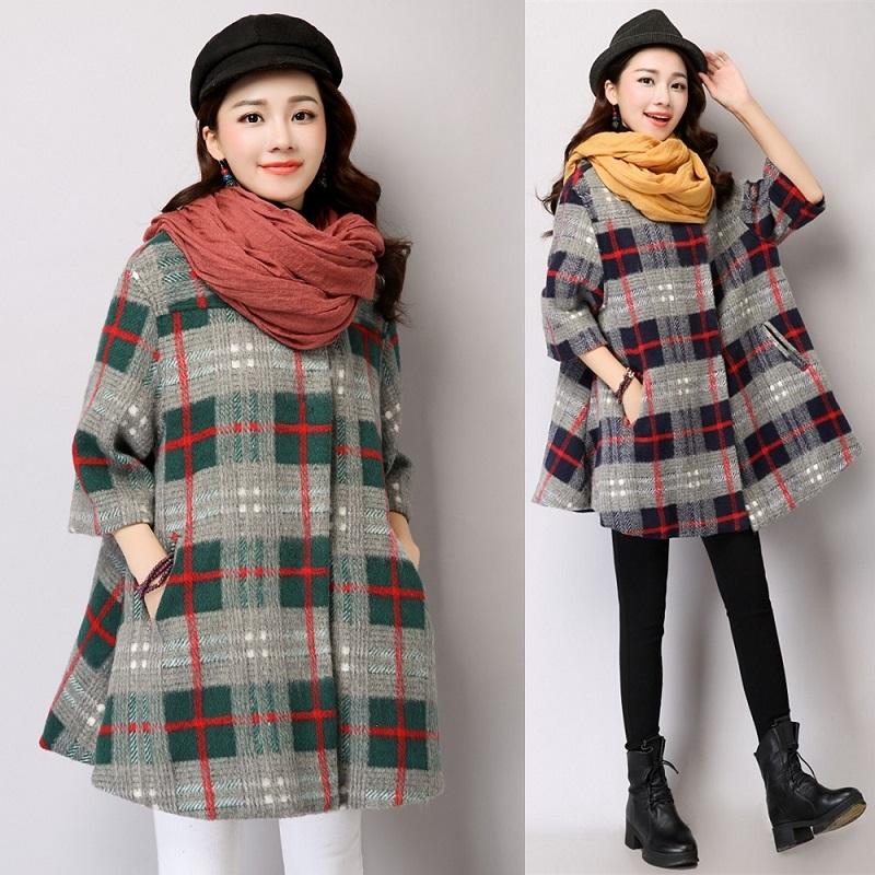 Autumn Winter Cotton Woolen Maternity Coat Overcoat Plus Size Batwing Sleeve Cloak Outerwear Jackets for Pregnant Women E151<br><br>Aliexpress