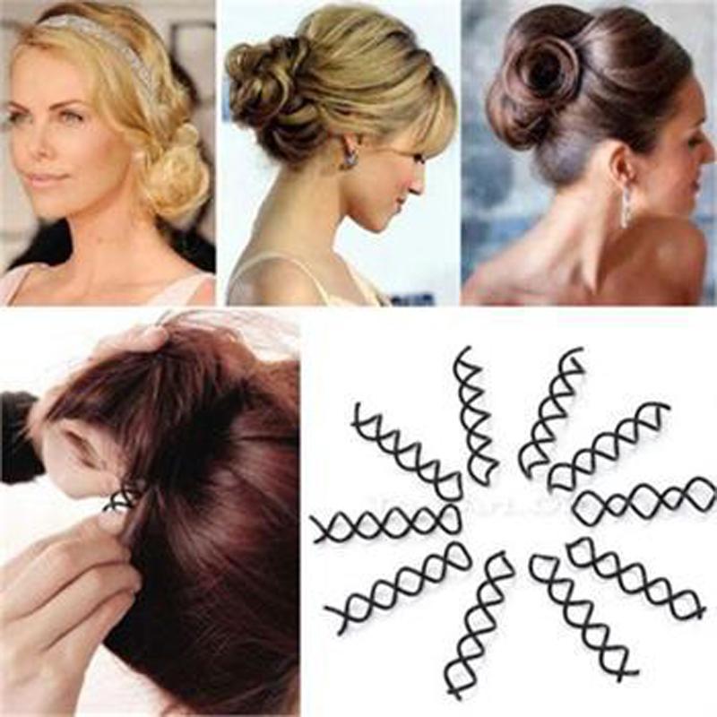 10Pcs Twist Hair Clips Black Hairpins A Hair Clip For Women Girls Pro Spiral Spin Screw Girl Women Hair Accessories Donut Bun(China (Mainland))