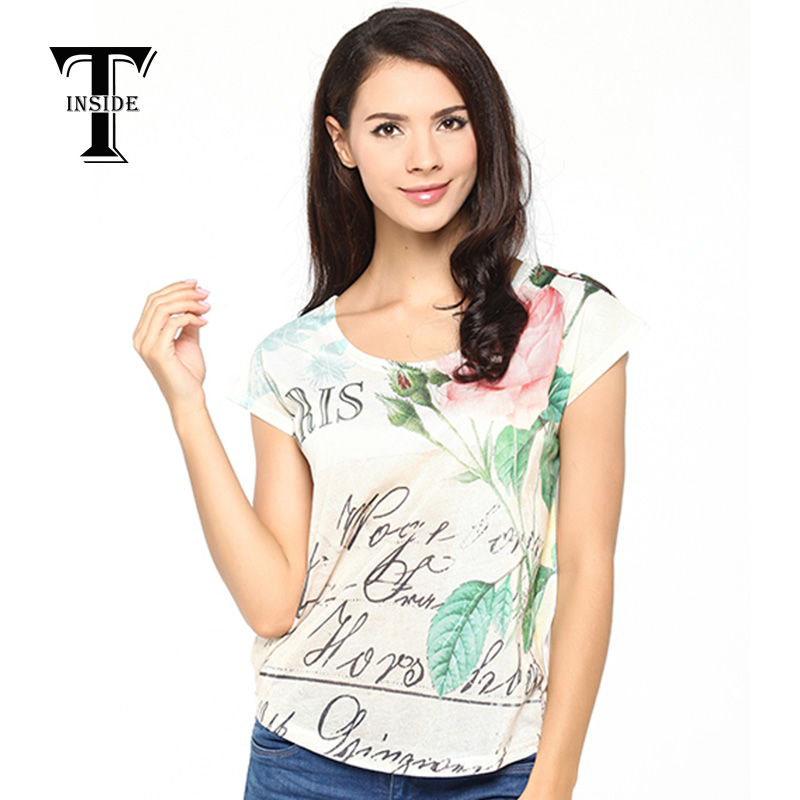 2015 T Shirt Women O-neck Casual Broadcloth Short Appliques Regular Print Regular T-shirts Blusas Femininas Fringe Top(China (Mainland))