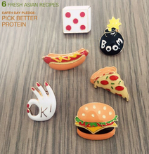 X013 Free shipping Cute Metal Pizza Hamburgers Hot Dogs Poached Eggs Dice Bombs Brooch Pins,Fashion Jewelry Wholesale(China (Mainland))
