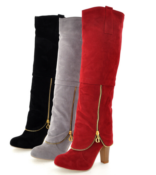 Hot sale New arrival fashion high heel boots ladies sexy knee high boots for women shoes(China (Mainland))