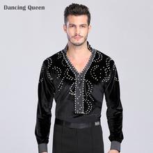 Man Latin Ballroom Dancing Dresses Top High-Grade Velvet Dance Wear Drilling Boy Clothes For Dancing Men Dance Exercise Shirt
