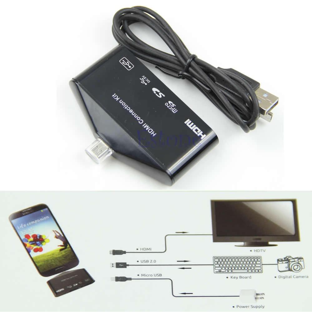 Micro USB OTG Card Reader HUB MHL to HDMI HDTV TV Adapter For Galaxy S3 S4 Note2(China (Mainland))