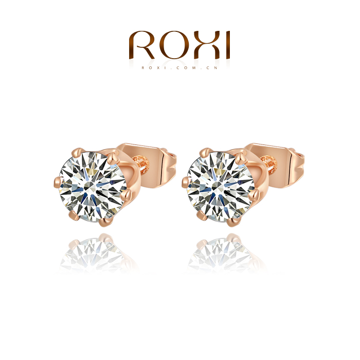 Гаджет  Roxi Fashion Jewelry High Quality Rose Gold Plated Filled Clear Austrian Crystals Lovely Stud Ladies Earrings None Ювелирные изделия и часы