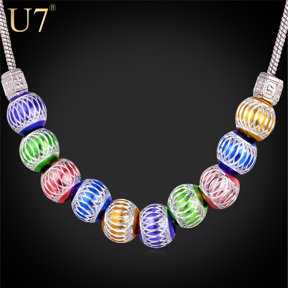 U7 Cute Bead Necklace Women Fashion Jewelry 2015 Wholesale Trendy Platinum Plated Colorful Ball Necklaces Pendant P462(China (Mainland))