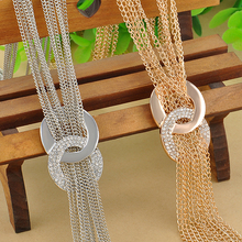 Buy Long Sweater Chain Necklaces Gold Silver Tassel Statement Necklace Crystal Necklaces Women Fashion Jewelry 2016 New for $1.99 in AliExpress store