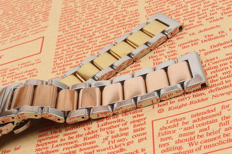 Высокое Качество Нержавеющей стали Ремешок Для Часов 18 ММ 20 ММ 22 ММ 24 ММ Серебро и розовое золото красивые Часы band ремни браслет для мужчин