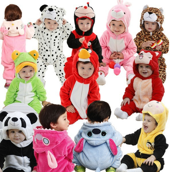 2015 Hot Sale Baby Clothes New Cotton Flannel Lining Quilted Rompers Baby Clothing Jumpsuit Cartoon Animal Hello Kitty 0-2 Year(China (Mainland))