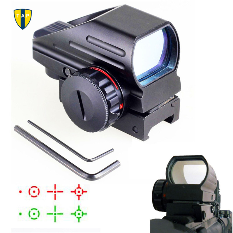 Hunting Optics 1x22x33 Compact Reflex Red Green Dot Sight Scope 4 Reticle Sight for Airsoft With Weaver 20mm Mount Caza(China (Mainland))