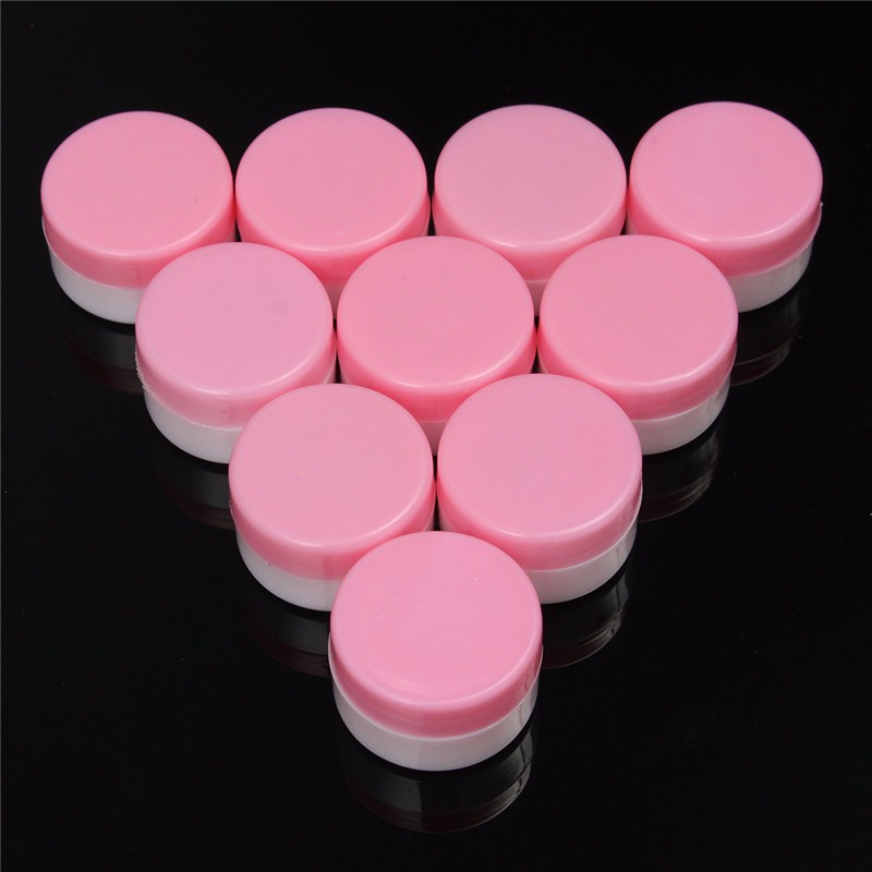 Best Hot Sale 10PCS Portable Acrylic Plastic Round Clear Transparent Empty Storage Jar Pot Eyeshadow Makeup Container Pink(China (Mainland))