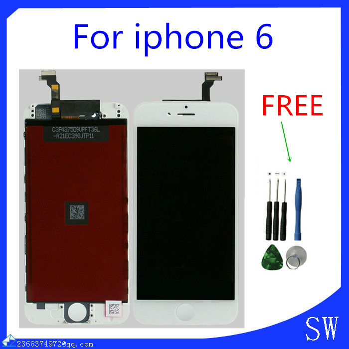 White LCD display touch screen digitizer assembly replacement for iphone 6 lcd 4.7inch 100% Tested(China (Mainland))