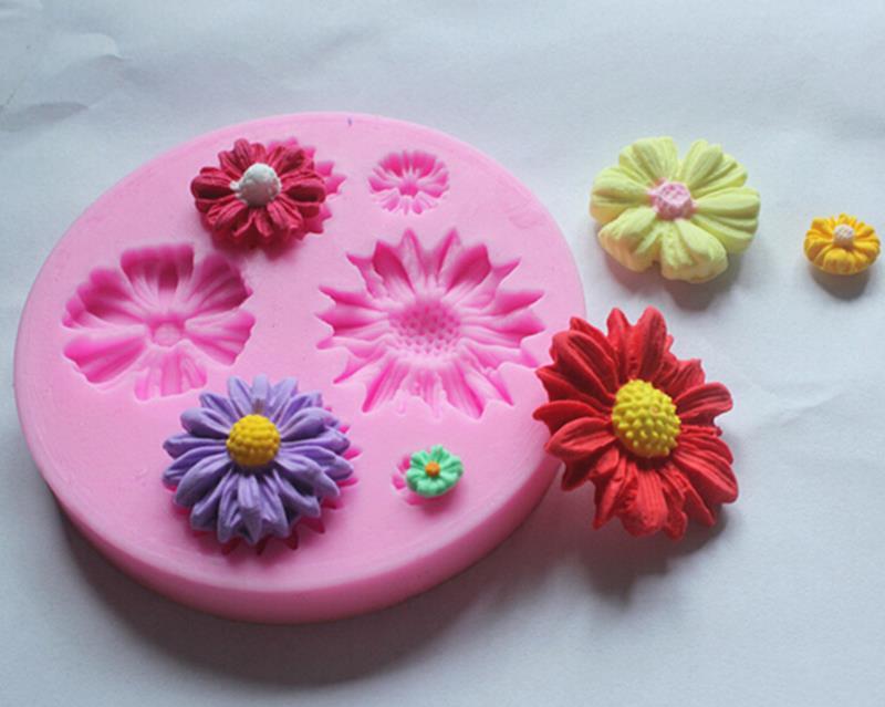Flower Silicone Mold Fondant Sugarcraft Chocolate Cake Tools 3D Daisy Mould Kitchen Gadgets(China (Mainland))