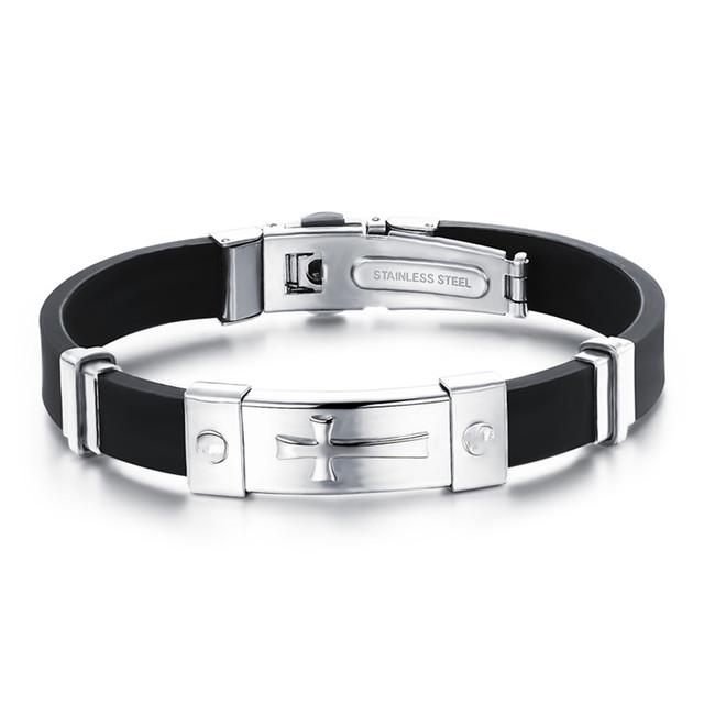 Силиконовый браслет мужчин браслет крест старинные ювелирные изделия браслеты дружбы ...