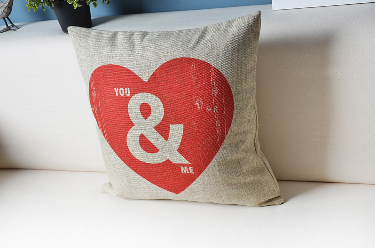 You and I LOVE pillow Personality Couples gift Pillow cushion Linen pillowcase home decorative Pillows