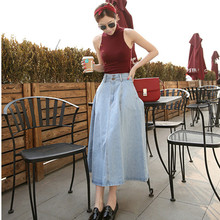 New fashion summer autumn women slim long denim skirt A line high waist empire solid women denim skirts D8203