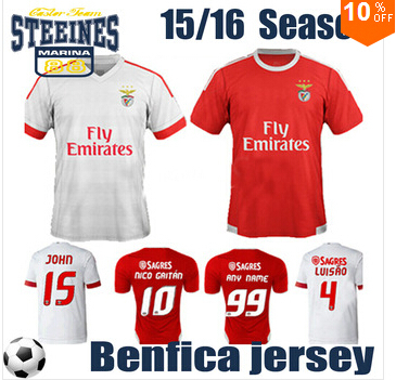 Newest Original brand & tags 14-15 top thailand quality benfica home red football shirt, 14 15 benfica soccer jersey()