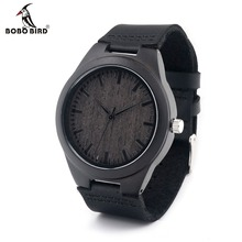 Buy BOBO BIRD D26 Mens Design Brand Luxury Black Wooden Watches Real Leather Quartz Watch Men Natural Ebony Wood Carton Box for $18.29 in AliExpress store