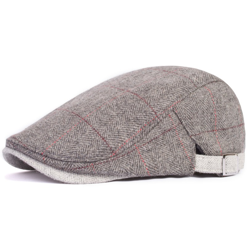 Cap male women's autumn and winter woolen hat beret fashion big plaid vintage elegant cap(China (Mainland))