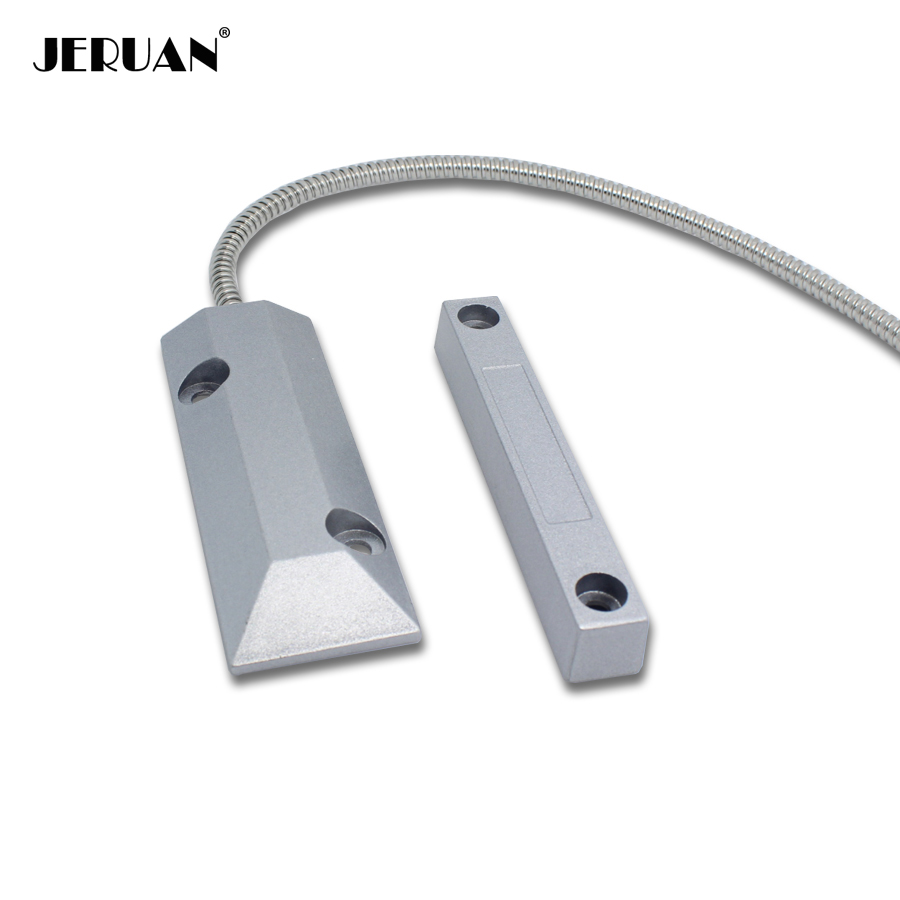 JERUAN 1 PCS Wired magnetic Rolling Door sensor alarm NC signal Alarm security steel material Fire control door