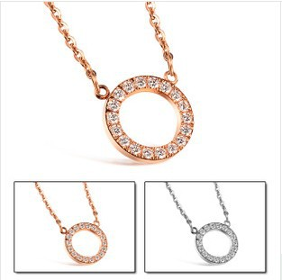 """Gurantee 100% Fashion Simple Style AAA CZ Diamond Full Crystal Circle """"LOVE"""" Necklace Rose Gold Plated Women Vogue Jewelry. 910(China (Mainland))"""