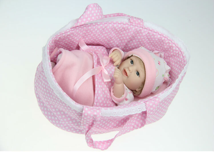 Free Shipping 2015 Adorable Lifelike Silicone Reborn Dolls Smile Baby Doll 11''/28cm, Realistic Baby Reborn Vinyl Dolls for Kid(China (Mainland))