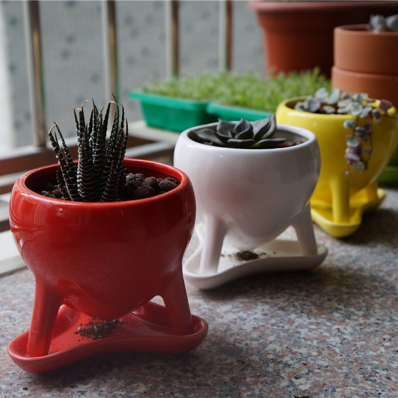 Ceramic flower pots with three foot cute design art home for 6 ceramic flower pots