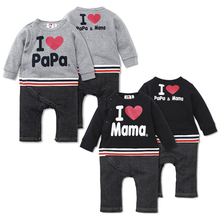 Free Shipping Summer Baby Boys Romper I Love Mama I Love Papa One-piece Romper Newborn Infant Toddler Children Terry Jumpsuits(China (Mainland))