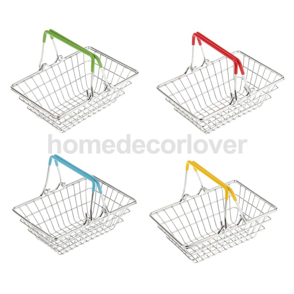 Fashion Mini Chrome Plated Supermarket Shopping Basket Desktop Decoration Storage Phone Holder Baby Kids Toy(China (Mainland))