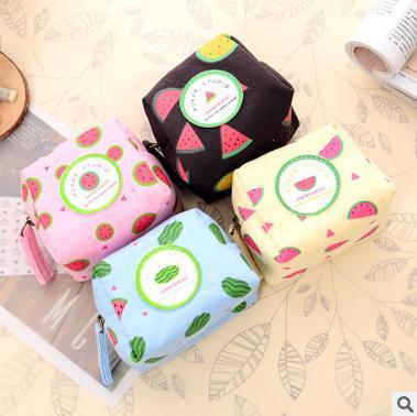 The new 2016 new models Han edition creative fruit watermelon canvas change purse Recreation key bag(China (Mainland))
