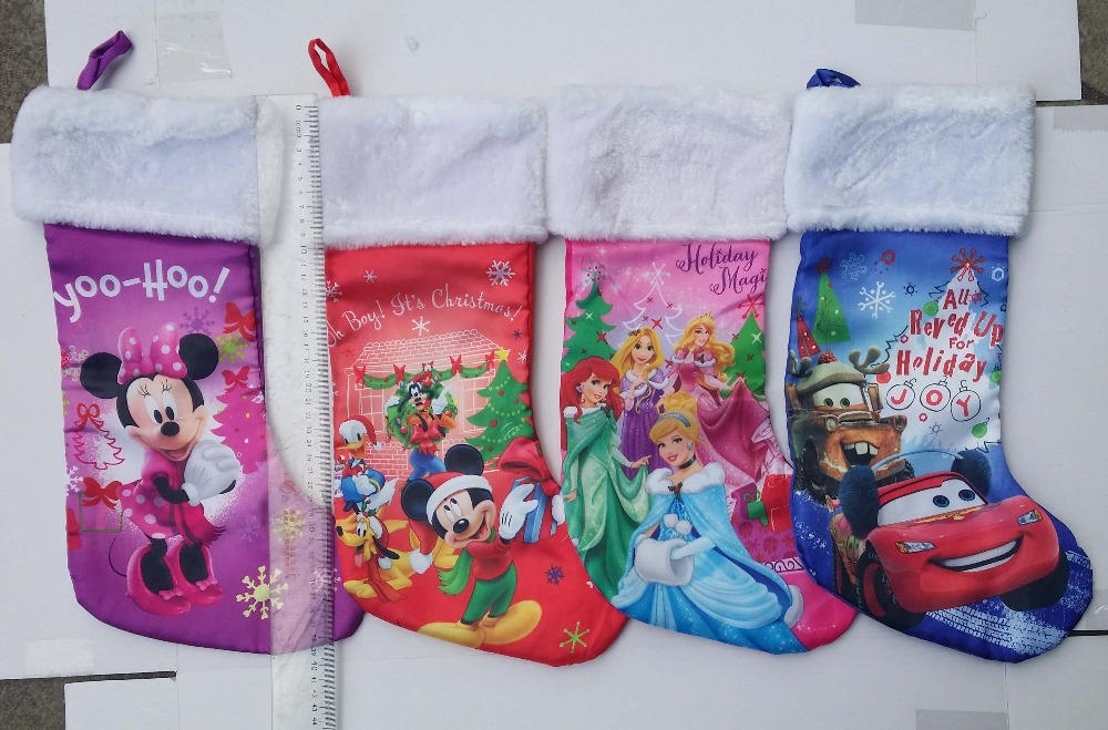 Free Shipping.high quality 43cm plush satin Minnie mouse,princess,car,movie cartoon children Christmas stockings candy gift bag(China (Mainland))