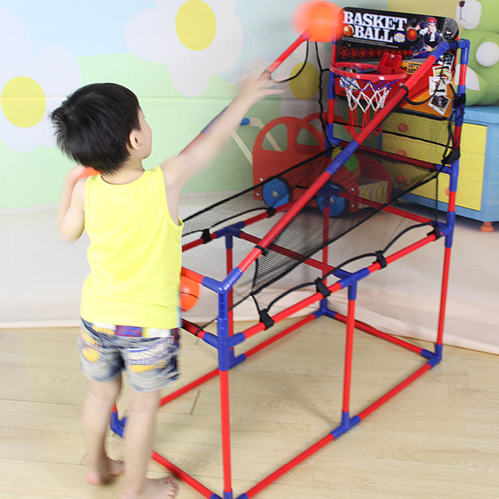 Фотография 106-160cm Indoor Basketball Sport Game Basketball Machine Basketball Stand 4-Section Height Adjustable with Inflator