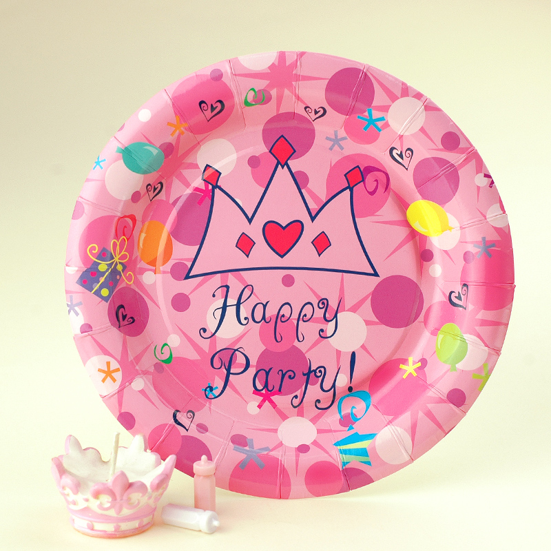 Children Birthday Party Supplies Cartoon Cake Dish Disposable Party Paper Plate Free Shipping(China (Mainland))