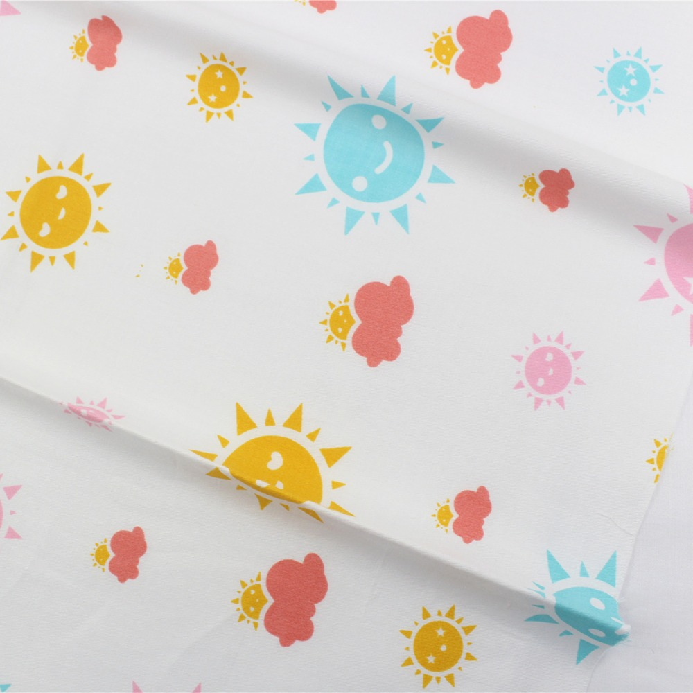16608-56F1, Sun and clouds Rayon cotton fabric ,Children like the style 50cm*150cm diy handmade patchwork cloth home textile(China (Mainland))