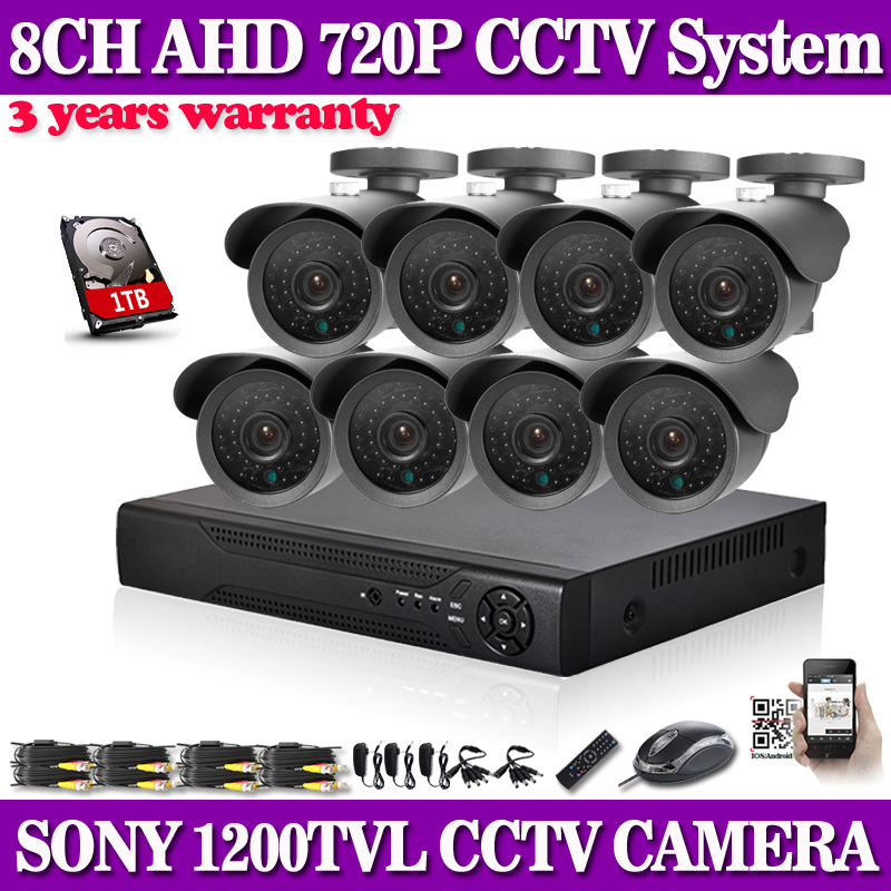 SONY CCTV System 1200TVL 8CH AHD Security HVR 720P Video Night Vision Home Surveillance Security Cameras System With 1TB HDD<br><br>Aliexpress