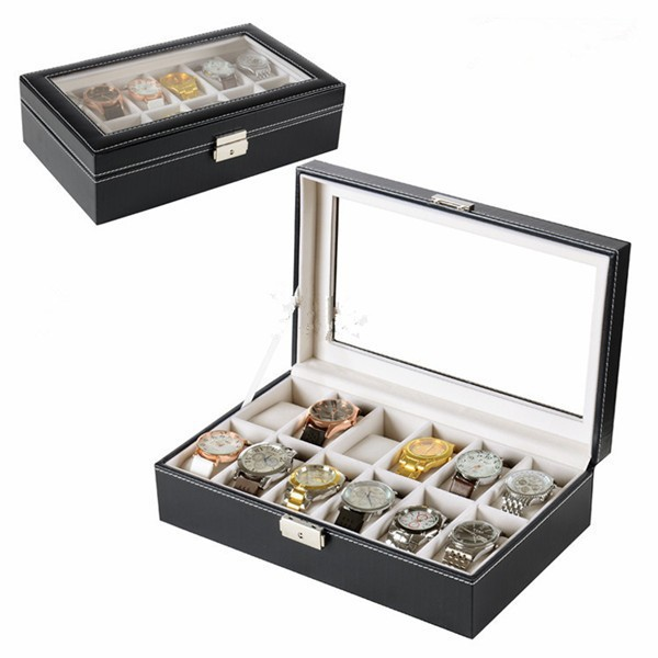 New Men Wrist Watch Display Storage Organizer Box Container 12 Cell Black Leather Glass Top Box for Storing Hours Jewelry(China (Mainland))