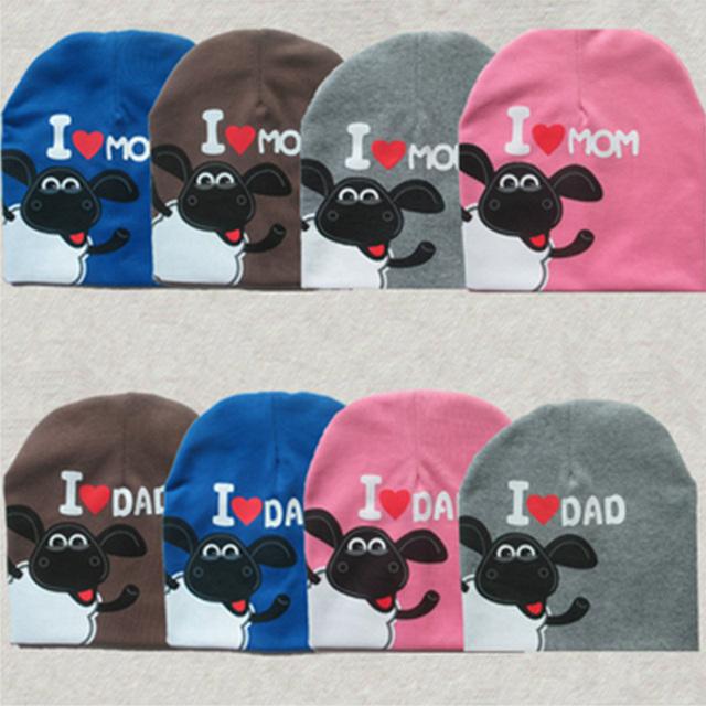 2015 Мода Baby Boy & Девушки Hat Хлопок Теплая Зима Осень Cap Дети шляпы Шапочки Pentagram овец Я люблю папу Я люблю мама ребенка шляпа