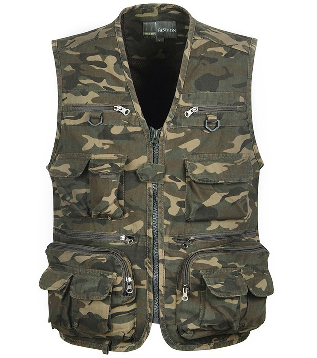 Men Camouflage Fishing Hunting Vest Cargo Outdoor Game Outwear Waistcoat Multi-Pocket Photography Recreational Fishing Vest