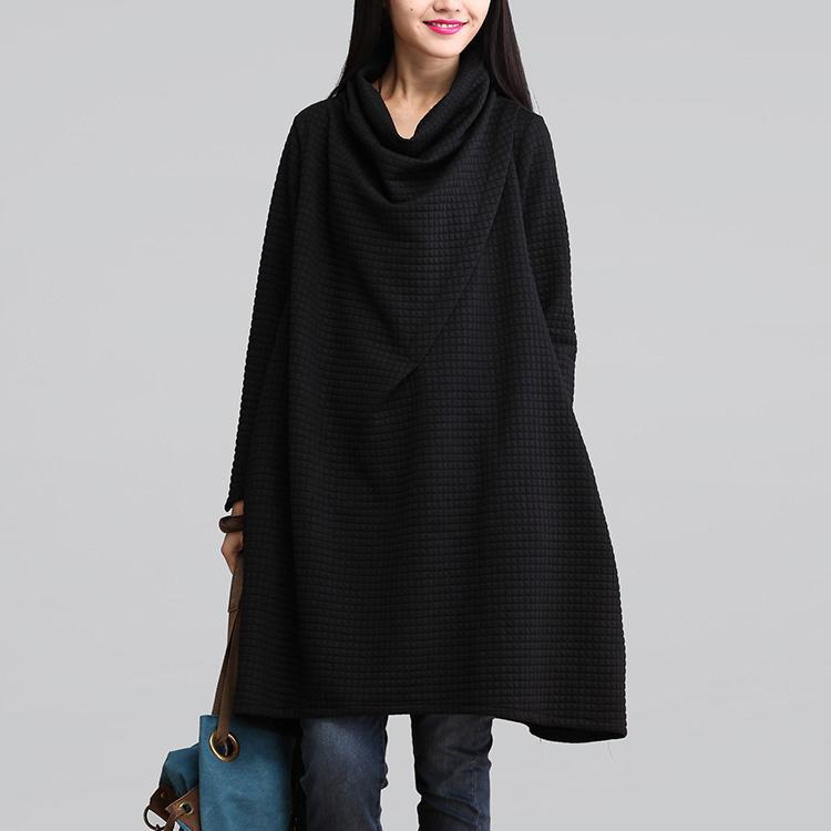 Vestidos Hot Autumn Winter Women Casual Cotton Loose Scarf Collar Dress Temperament Long Sleeve Blouse Plus Size Dress