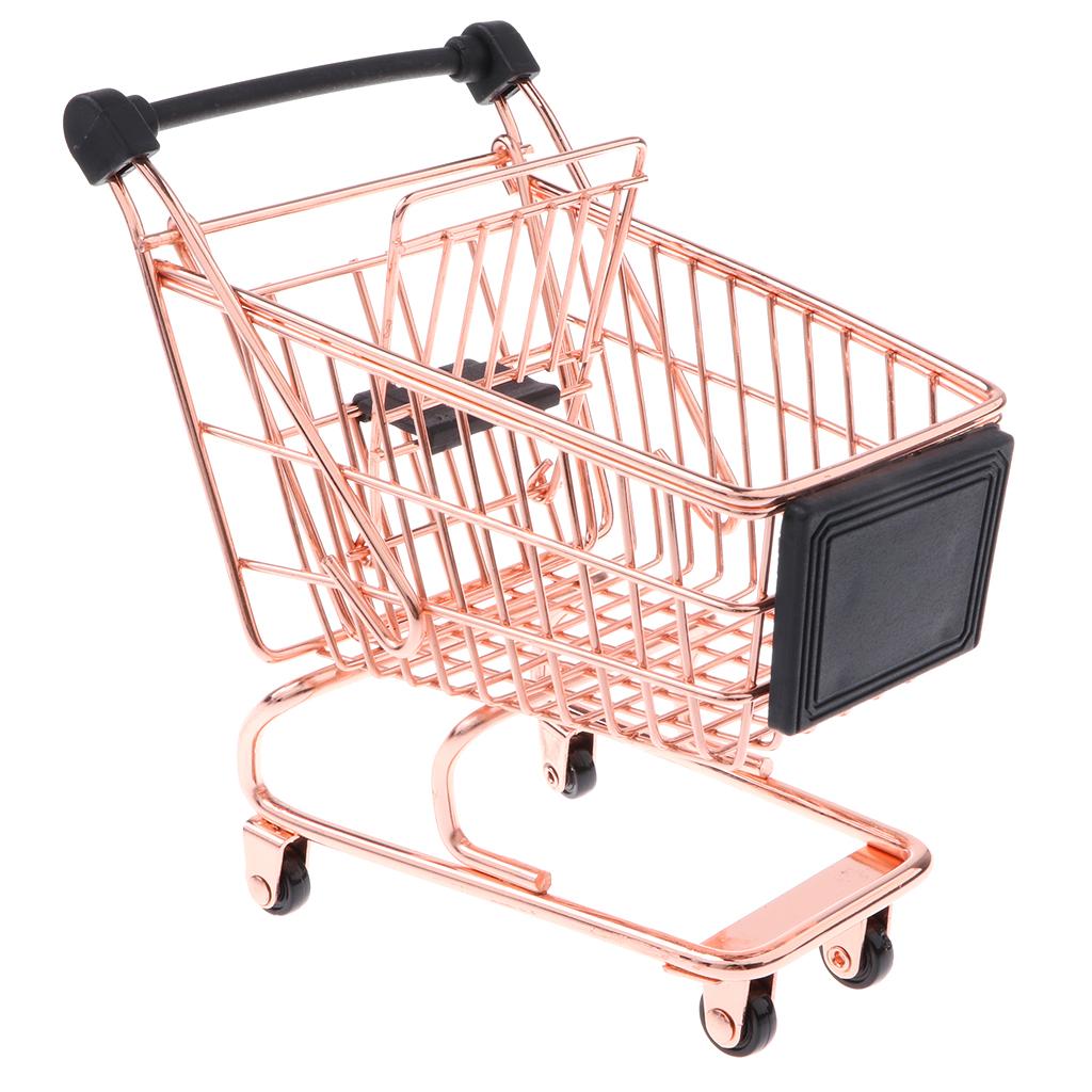 Kids Pretend Role Play Mini Metal Shopping Trolley /& Basket Supermarket Handcart