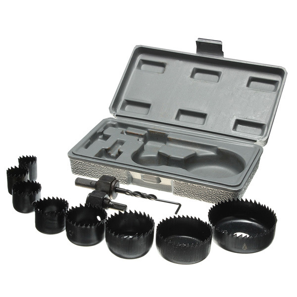 Best Promotion 11Pcs Hole Saw Cutting Set Kit 19-64mm Wood Metal Alloys Circular Round & Case Excellent Quality(China (Mainland))