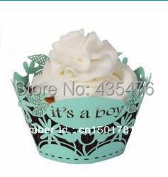 120pcs/lot It's A Boy Light Blue Plain Paper Laser Cut Cupcake Wrapper Baby Shower Cake Muffin Decoration Wrap Free Shipping(China (Mainland))