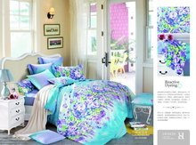 Garden flower reactive printing comforter bedding sets queen cotton bed linens with sheet duvet cover 4 or 5 pieces bed in bag(China (Mainland))