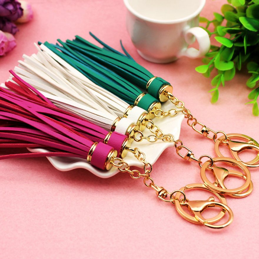 Long Tassels Pendant lover Key Chain for Women Bag , Suede Leather Keychain Chaveiro for Car Key Ring Phone Holder Jewelry(China (Mainland))