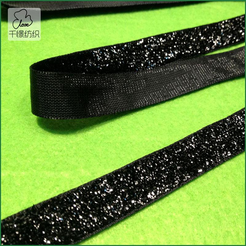 10yds 12mm Sparkle Glitter Velvet Ribbon Headband Clips Bow Black(China (Mainland))